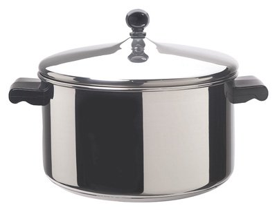 Meyer Cookware 50005 Stockpot, With Lid, Aluminum/Stainless Steel, 6-Qts.