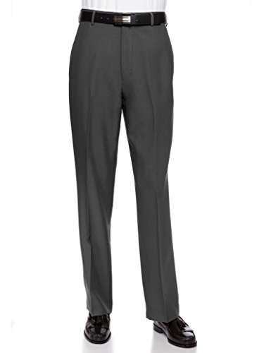 RGM Men's Flat Front Traditional Fit Dress Pant Charcoal 34W x 34L (Hem Cuff Pants)