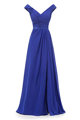 AlfaBridal Off Shoulder V-Neck Long Royal Blue Chiffon Bridesmaid Wedding Evening Dress US14