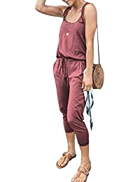 Longwu Women's Casual Loose Sleeveless Jumpsuit Drawstring Waisted Overall Rompers with Pockets