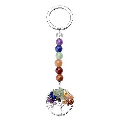 - JOVIVI 7 Chakra Gemstone Tree of Life Pendant Keychain Healing Crystals Tumbled Stone Beads Keyring for Couple Best Friend Family