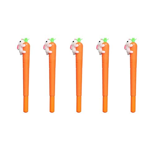 BinaryABC Back to School Supplies,Carrot Bunny Rabbit Gel ink Pen,Easter Gift Easter Party Decoration,5Pcs ()