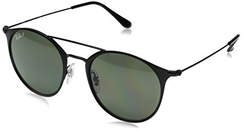 Ray-Ban RB3546 Round Metal Sunglasses, Black On Matte Black/Polarized Green, 52 mm