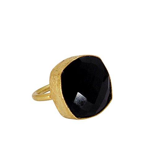 Wonderfull 22k Gold Vermeil Black Onyx Gemstone Stackable Fashion Ring Onyx Vermeil Ring