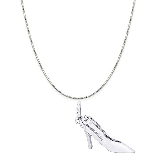 (Rembrandt Charms Sterling Silver Sling Back Heels Charm on a Sterling Silver Box Chain Necklace, 16
