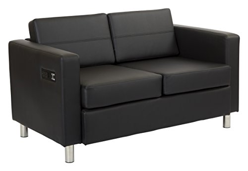 Office Star Atlantic Loveseat with Silver Finish Legs and Dual Charging Station, Black Dillon Fabric