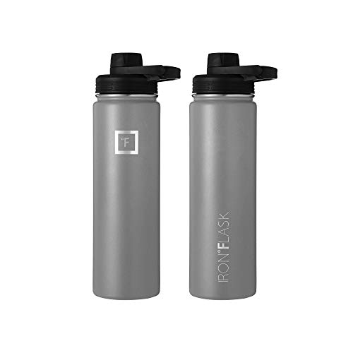 IRON °FLASK Sports Water Bottle - 22oz, 3 Lids (Spout Lid), Vacuum Insulated Stainless Steel, Hot Cold, Modern Double Walled, Simple Thermo Mug, Hydro Metal Canteen