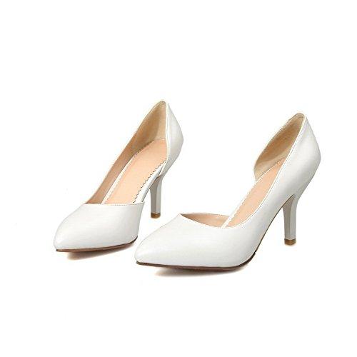AllhqFashion Damen Ziehen Auf Stiletto Pu Leder Rein Spitz Zehe Pumps Schuhe Weiß