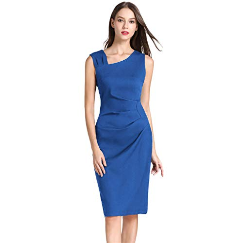 〓COOlCCI〓Women's Retro 1964s Style Sleeveless Slim Business Pencil Dress Ruched Cocktail Party Bodycon Sheath Dress Blue
