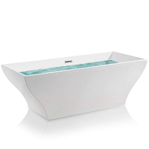"AKDY 67"" Bathroom Acrylic Smooth White Color Freestanding Bathtub w/Overflow"
