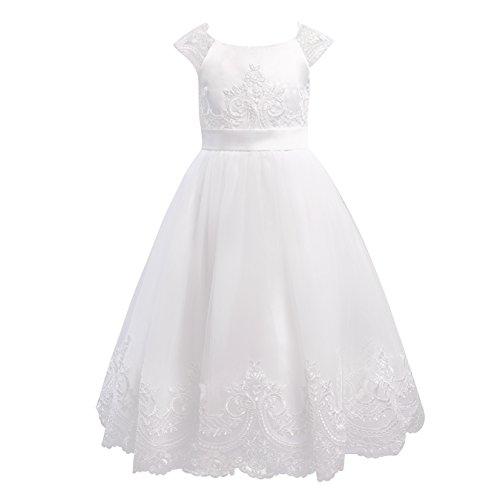 (Miama Ivory Lace Tulle Cap Sleeves Wedding Flower Girl Dress Christening Communion)