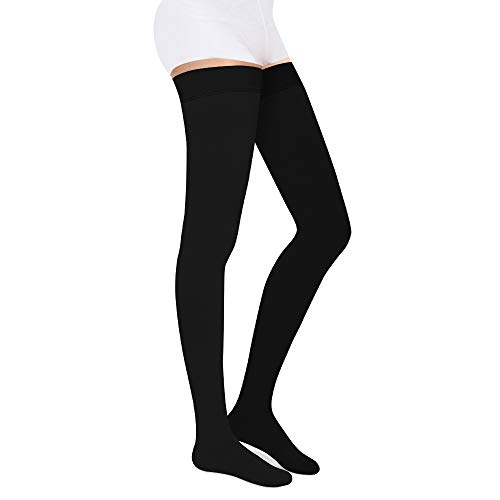SKYFOXE Medical Thigh High Compression Stockings for Women Men- Closed Toe Firm Support 20-30 mmHg Gradient Compression Socks Support Hose for Treatment Swelling, Varicose Veins, Edema (Black, L)