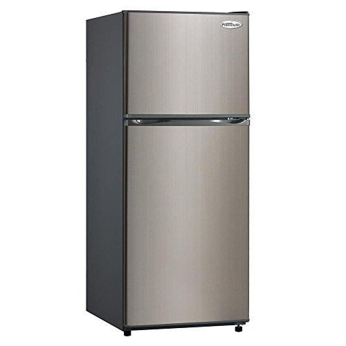 - PREMIUM 9.9 cu. ft. Frost Free Top Freezer Refrigerator in Black with Stainless Steel Door