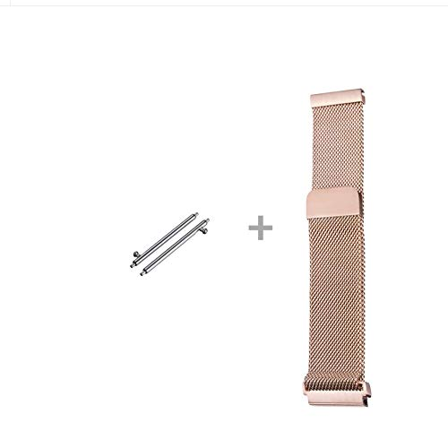 Jurich Adjustable Magnetic Stainless Steel Metal Strap Replacement Band Bracelet Strap for Men's Women's Watch (20MM, Rose Gold)