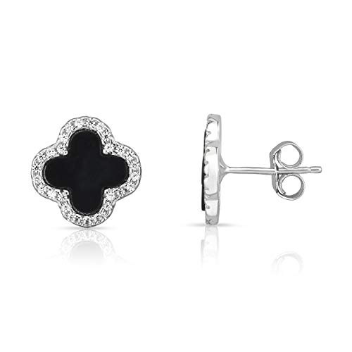 (Sterling Silver Black Onyx And Cubic Zirconia Four Leaf Clover Post Earrings. (Natural Silver))