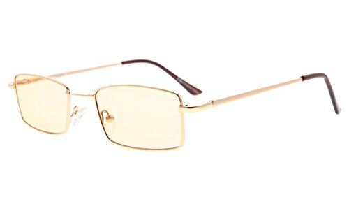 - Eyekepper Memory Titanium Bridge Computer Glasses 50% Blue Light Blocking Reading Glasses Amber Tinted Lenses (Gold,+3.00)