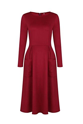 GAMISS Mujer Vintage Vestido Mangas Largas Casual con Bolsillo Invierno Dress S-XL Rojo
