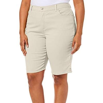 Gloria Vanderbilt Plus Amanda Solid Button Hem Shorts 22W Beige at  Women's Clothing store