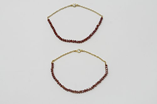 Silver Vermeil Bracelet With Red Crystals and Cubic Zircon Bezel