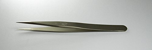 Regine 11-Nickel-R - Strong Points, Straight Tip - Tweezer - Nickel Plated - Swiss Made - High Precision tweezers for Electronics