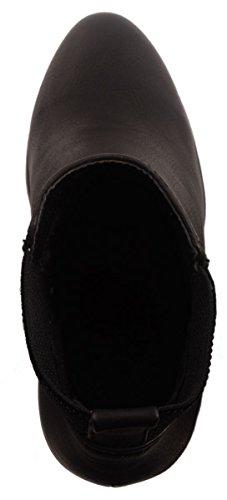 Elara Femmes Chelsea Boots Talon Bloc Bottines Chaussures Noir London zWCFJcmb