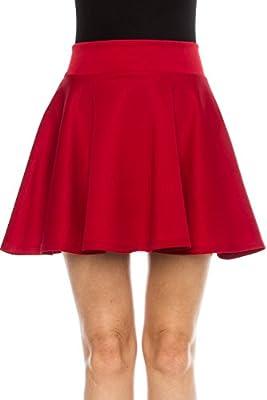 KLKD Women's Basic Versatile Stretchy A Line Flared Mini Skater Skirt Made in U.S.A.