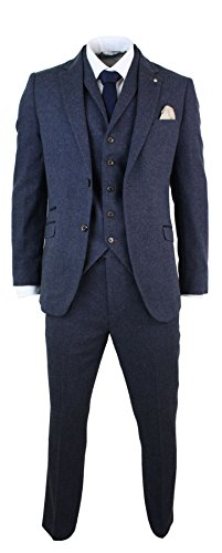 Cavani Mens 3 Piece Wool Blend Herringbone Tweed Suit Blue Brown Vintage Tailored Fit