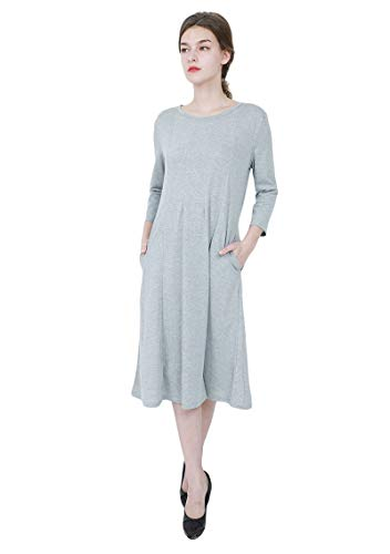 YMING Ladies A Line Midi Dress 3/4 Sleeve Trapeze Dress with Pocket Grey L