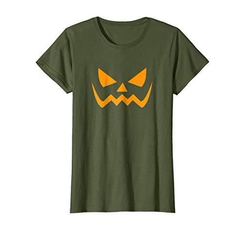 Womens Jack O' Lantern Pumpkin Halloween Costume T-Shirt Funny Small Olive -