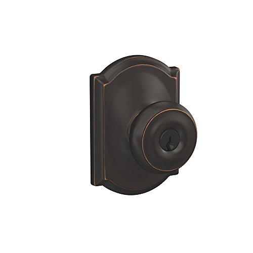 Schlage F51A GEO 716 CAM Georgian Knob with Camelot Trim Keyed Entry Lock, Aged Bronze