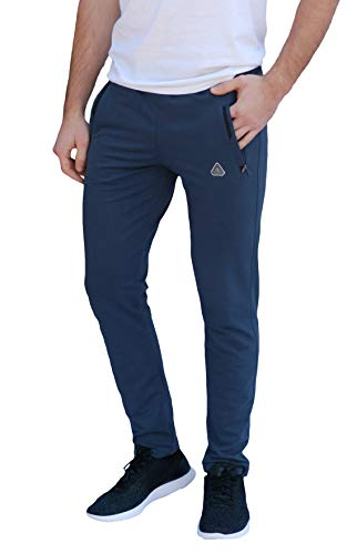 Cotton Track - SCR SPORTSWEAR Men's Soccer Track Training Pants Athletic Sweatpants with Zipper Pockets Black Heather Grey Short Long Inseam (Medium x 33L, Steel Blue)