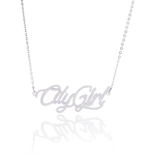 (HUAN XUN Stainless Steel Trendy Silver Script Font Necklace Personal Jewelry, City)