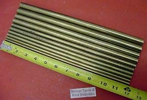 JumpingBolt 1/4'' to 5/8'' C360 Brass Round 10 Pc Assortment 12'' Long Lathe Bar Stock #5.44 Material May Have Surface Scratches