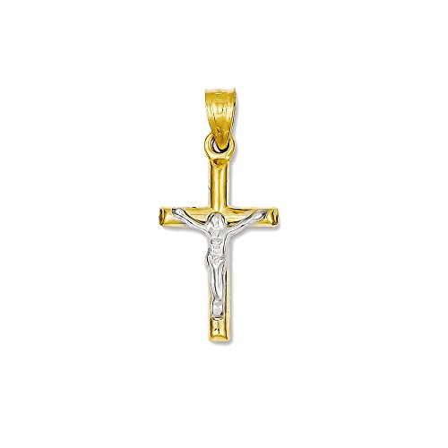 14k White and Yellow Gold Crucifix Charm Pendant - 26mm from Glamerous Gold