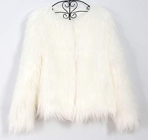 Hiver Vestes De Synthétique Fluffy Long Du Blanc Femme Ras Cou Zhuikuna Élégant Fourrure xH6a0qAWw
