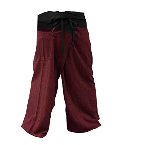 Memitr Thai Fisherman Pants Men's Yoga Trousers Gray Charcoal 2 Tone Pant (Black and Red)