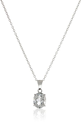 Sterling Silver Gemstone Pendant Necklace, 18