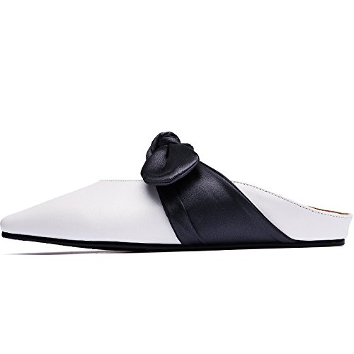 SOHOEOS Puntera cerrada Flip Flop señoras verano nueva moda señoras bajo el talón plano señoras Bow-Knot señoras Beige