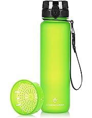 """Legendwerk® 1L""""LegendBottle"""" + Fruitzeef - BPA-vrij gemaakt van Tritan, Waterfles voor Sport, Fitness, Fietsen, Universiteit, Wandelen, Joggen, Kamperen - Licht, Duurzaam (appel groen)"""