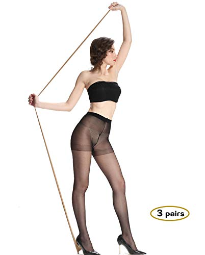 Sheer Pantyhose for Women 3 Pairs Durable and Comfortable Stockings No Run Pantyhose Socks Diy Dutting Tights with 15D (black, Large)