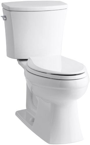 KOHLER K-3754-0 Kelston Comfort Height Two-Piece Elongated 1.6 GPF Toilet with AquaPiston Flush Technology and Left-Hand Trip Lever