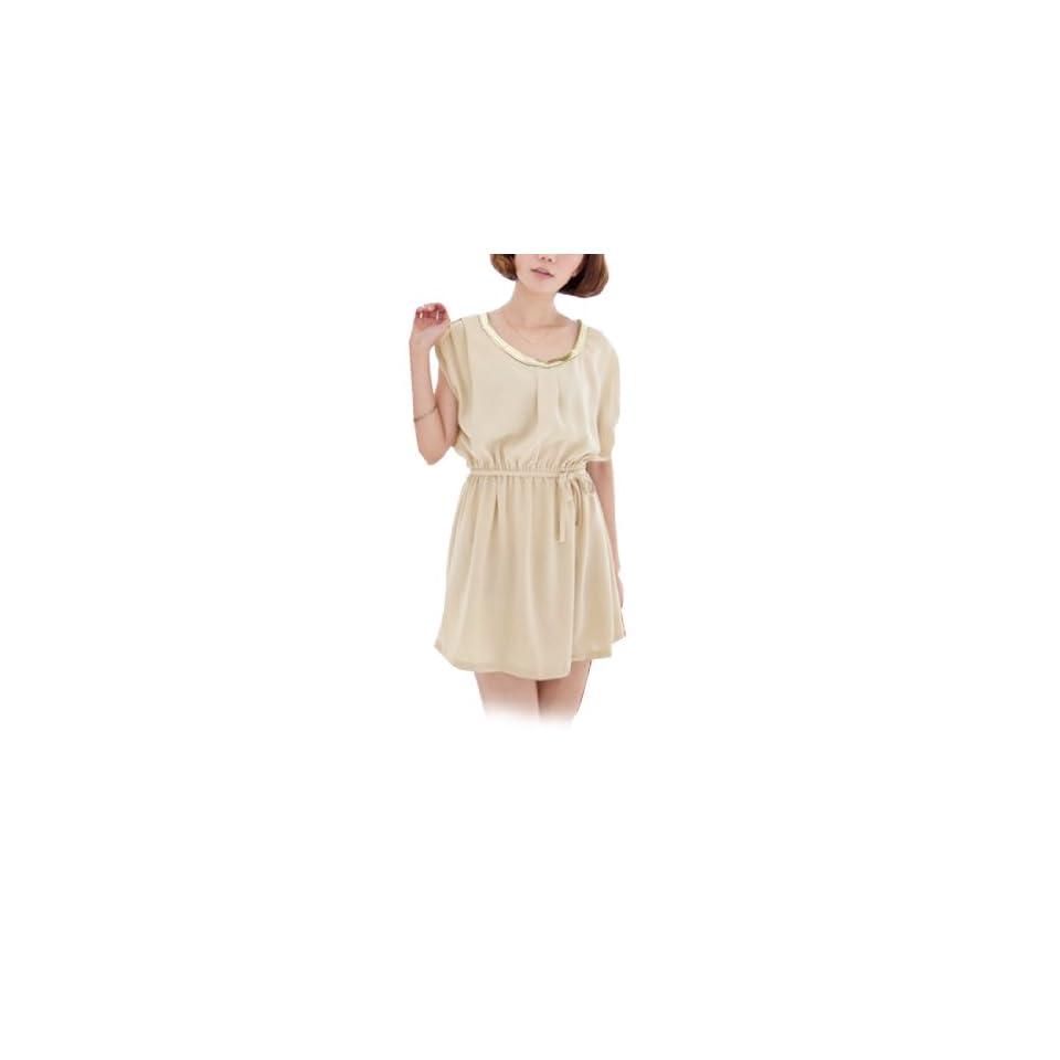 Women Scoop Neck Sleeveless Elastic Waist Semi Sheer Chiffon Dress Beige XS