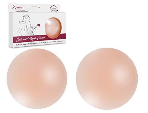 Nipple Cover Breast Petals - 2 Pairs Womens Reusable Silicone Nippleless Pasties by Classy Wino