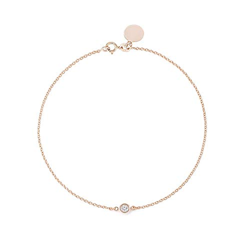 (TousiAttar Solitaire Diamond Bracelet- Solid Rose Gold-14K or 18K - Dainty and Simple Solitaire Bezel Set - Free Engraving - Graceful Gift- Minimalist Jewelry)