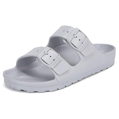 SEMARY Unisex Men's and Women's Flat Sandals Slip on EVA Slippers Comfort Footbed Adjustable Slides Double Buckle