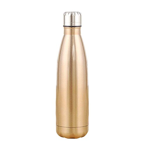 Aquiver Vacuum Bottles,Insulated Stainless Steel Water Vacuum Flask Double walled with a Brush for Outdoor Sports Hiking Running (Champagne Gold, 1L) by Aquiver