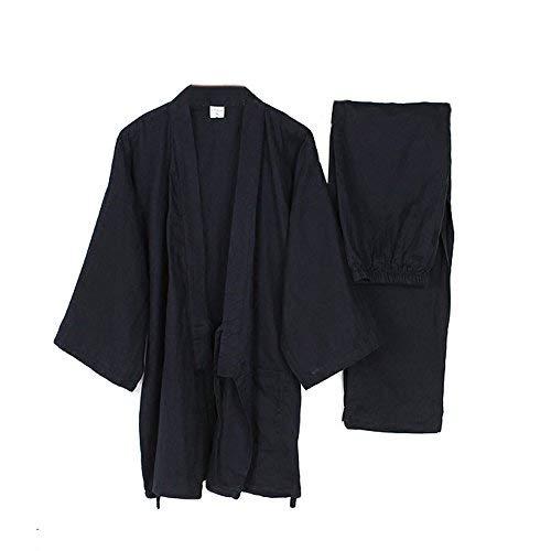 (Men's Japanese Style Robes Loose Pure Cotton Kimono Pajamas Suit-Navy XL)
