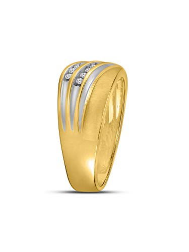 10kt Yellow Two-tone Gold Mens Round Channel-set Diamond Diagonal Double Row Wedding Band 1/4 - Set Double Diamond Row