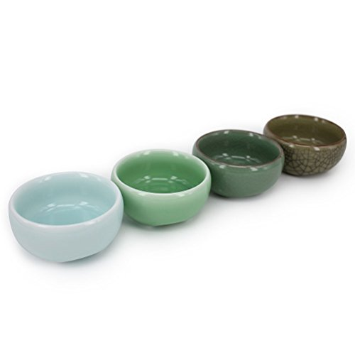 - ZHAMS Kungfu Teacup,Chinese Long-quan Celadon Teacup,Tea Set, Different Colors, Set of 4