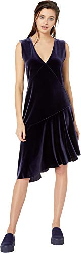 NEVEREVEN Women's Asymmetrical Ruffle Dress in Stretch Velvet, one am am, X-Small